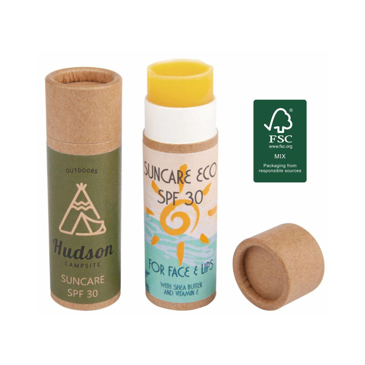 Eco sun care stick in FSC certified push-up container