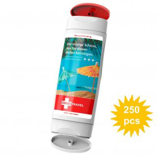 sun cream and after sun combi bottle personalised with large label digital print